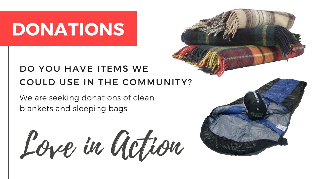 Supporting those doing it tough by providing free blankets, tarps and pillows 24/7. Find our community blanket box at the church entrance.